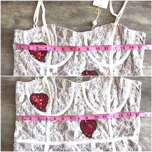 For Love And Lemons Dresses - NWT For Love Lemons L White La Christy Heart Dress